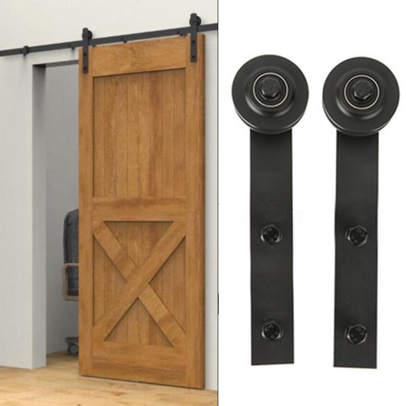 2pcs Carbon Steel Sliding Barn Sliding Track Kit Double Door Room door Hardware Interior Rustic Track Black Roller Rail
