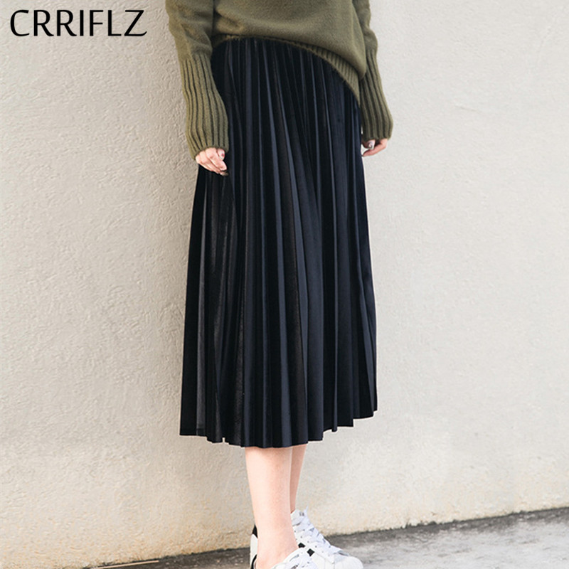 CRRIFLZ Fashion Autumn Winter High Waisted Skirt Skinny Female Velvet Skirt Office Lady Half Length Solid Color Pleated Skirts