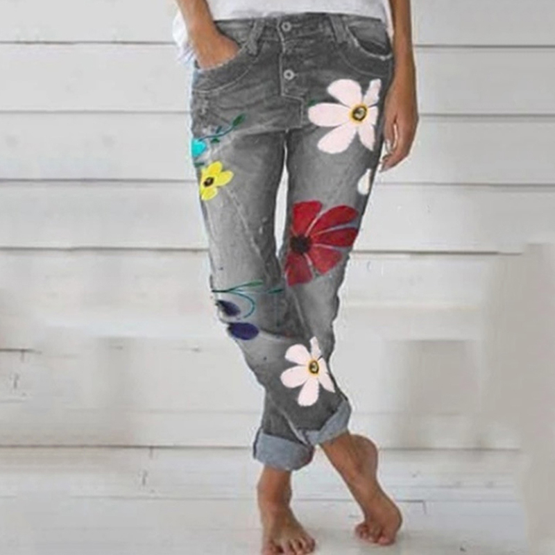 2020 Autumn Trendy Women Denim Pant Floral Printed Jeans Trouser Femme High Waist Pocket Pant Fit Straight Leg Jogger Pant Jeans