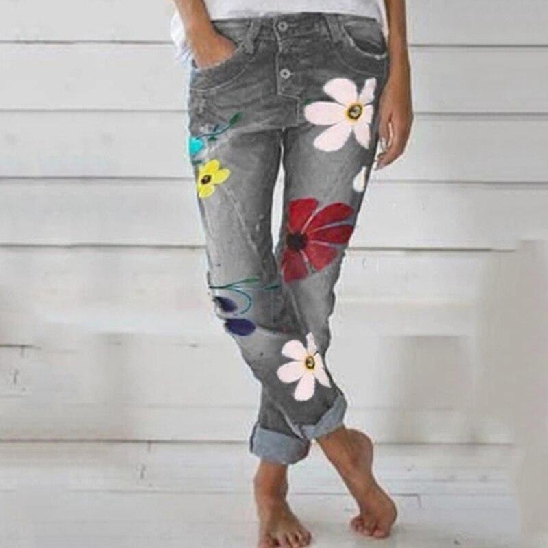 2020 Autumn Trendy Women Denim Pant Floral Printed Jeans Trouser Femme High Waist Pocket Pant Fit Straight Leg Jogger Pant Jeans