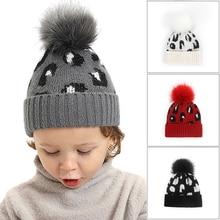 Beanies-Cap Children Bonnet Pompom Knitted Printed Toddler Kids Girl Boy Warm Autumn