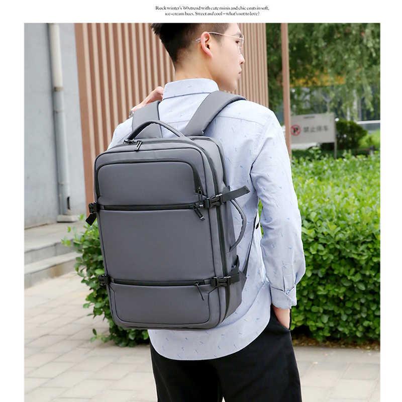 15.6in erkek büyük kapasiteli naylon su geçirmez USB bağlantı noktası çok fonksiyonlu siyah sırt çantaları iş seyahat Laptop çanta Booksacks