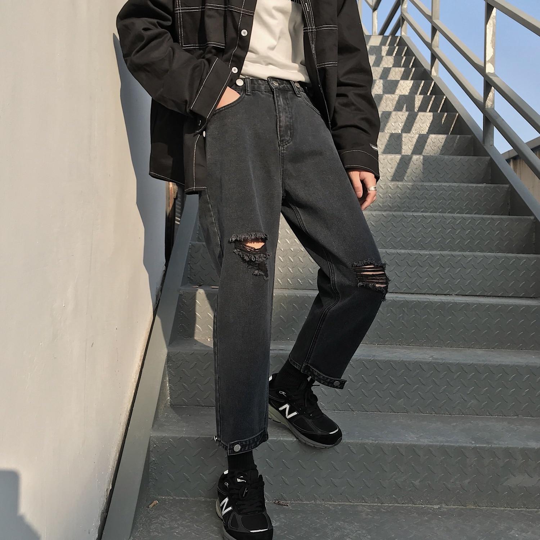 2020 Men's Fashion Trend Haren Pants Holes Baggy Homme Wash Jeans Black Color Casual Pants Loose Leisure Blue Trousers S-XL