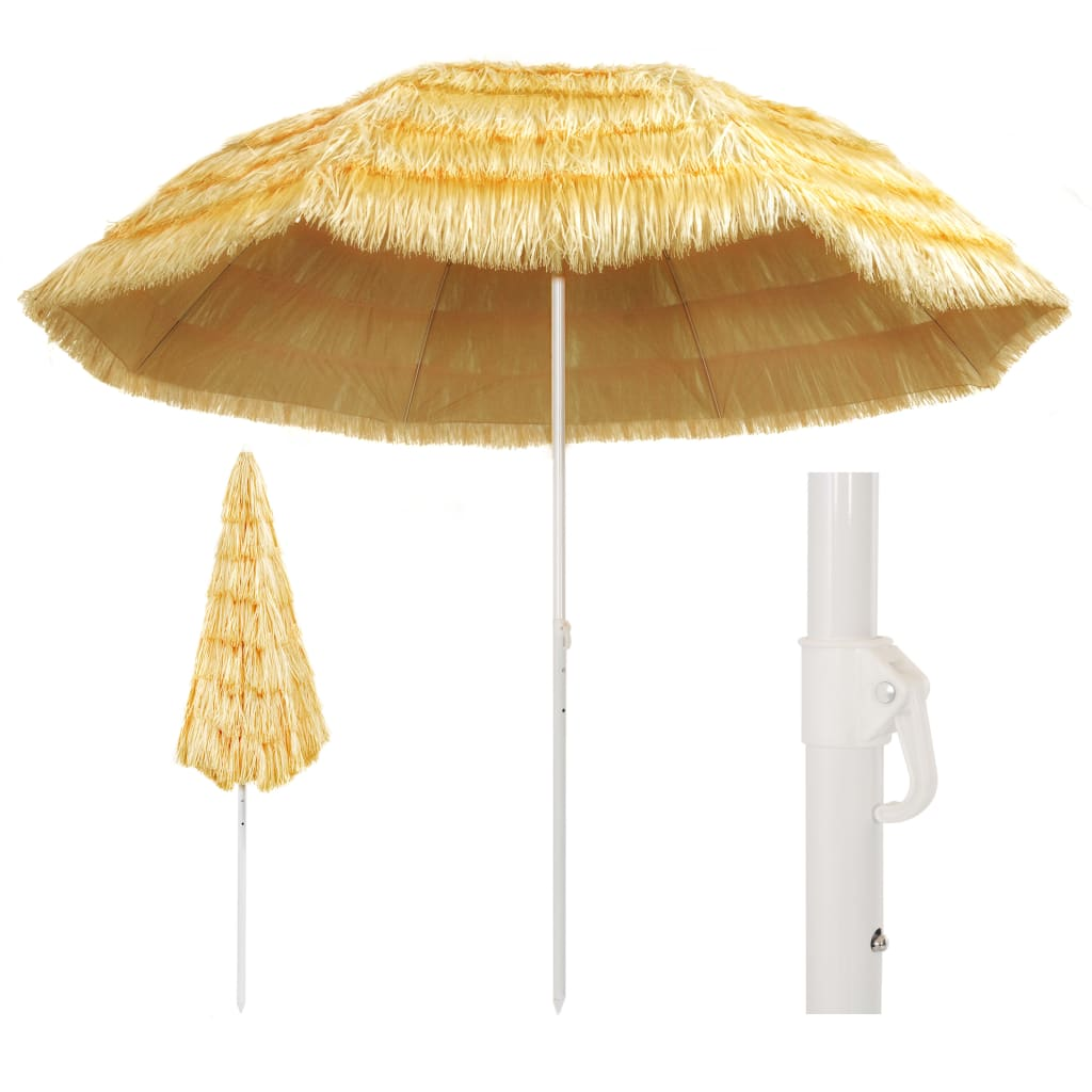 VidaXL Beach Umbrella Natural 300 Cm Hawaii Style