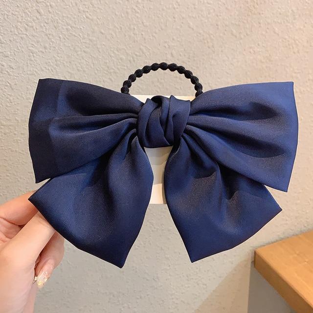 IFMIA Korean Bow-Knot Elastic Hair Bands Accessories Fashion Hair Band Long Ribbon Bow Ponytail Hair Tie Scrunchies Women Girls 4