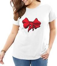 Женская Повседневная футболка с забавным принтом и красной лентой