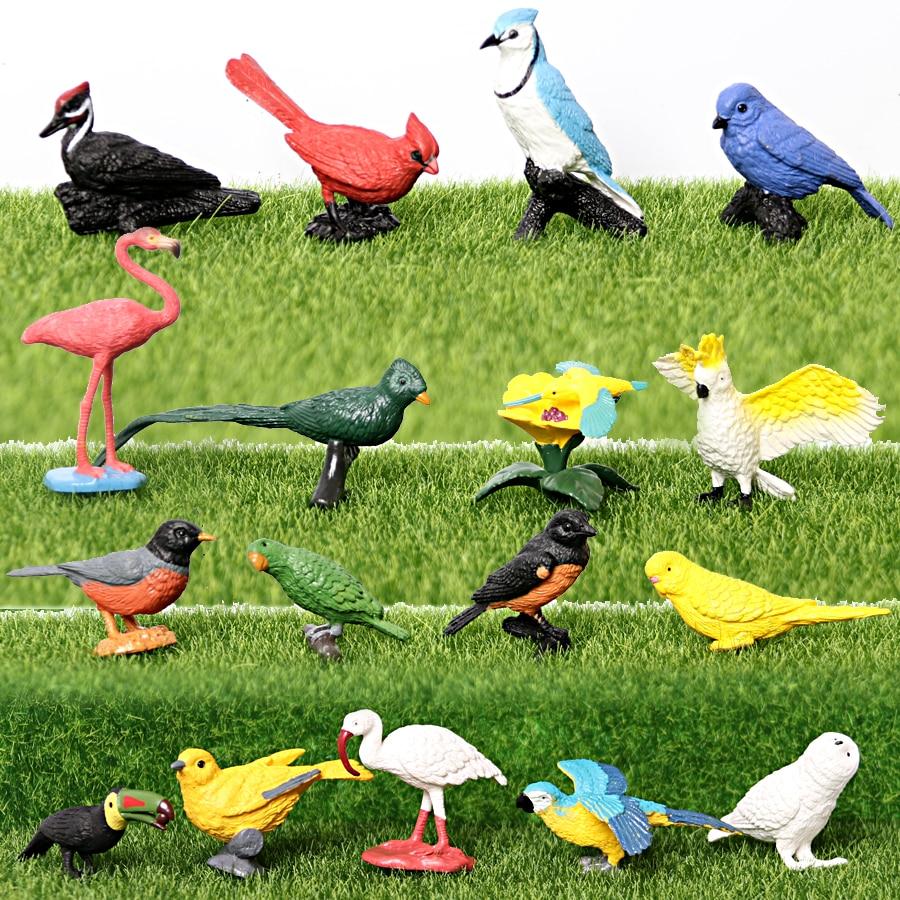 Имитация раскрашивания вручную экзотических птиц, модель животных, фигурки, фигурки, игрушки, Ориоль, Робин, снеговик, сова, обучающая игруш...