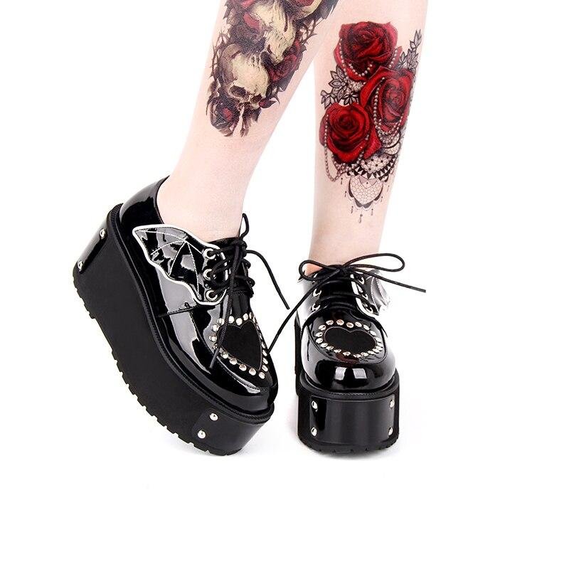 ญี่ปุ่น Harajuku Gothic Punk Lolita หญิงฤดูใบไม้ร่วงฤดูหนาวรองเท้ารองเท้าส้นหนาแพลตฟอร์มรองเท้า Lace up-ใน รองเท้าส้นสูงสตรี จาก รองเท้า บน   1