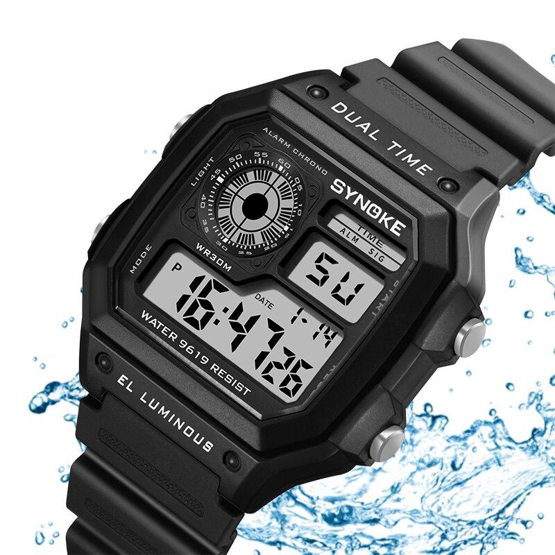 SYNOKE Brand Men Outdoor Sport Watches Waterproof Military Clock Digital Mens Watch Shock Quartz Professional Relogio Masculino