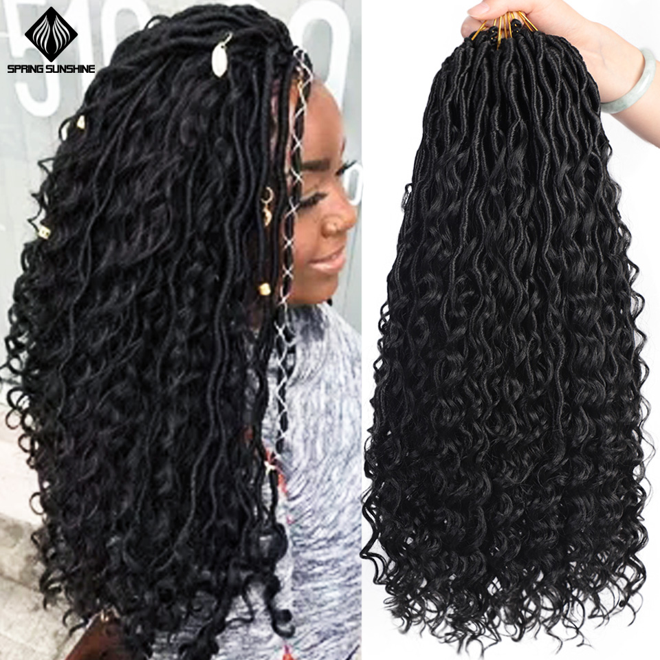 Spring Sunshine 20inch Messy Goddess Faux Locs Curly Crochet Braid Bohemian Soft Dreadlocks Synthetic Braids Hair Extensions