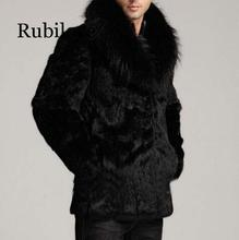 Rubilove Real Fur Coat 100% Whole Skin Rabbit Warm Winter Long Mens Overcoat Black Leather Trench