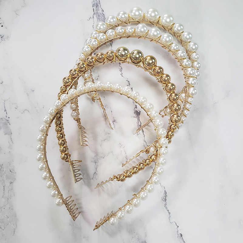 JUJIA perła z pałąkiem na głowę złoty srebrzysty kolor imitacja perły Hairbands dla kobiet biżuteria ślubna świąteczny prezent ślubny