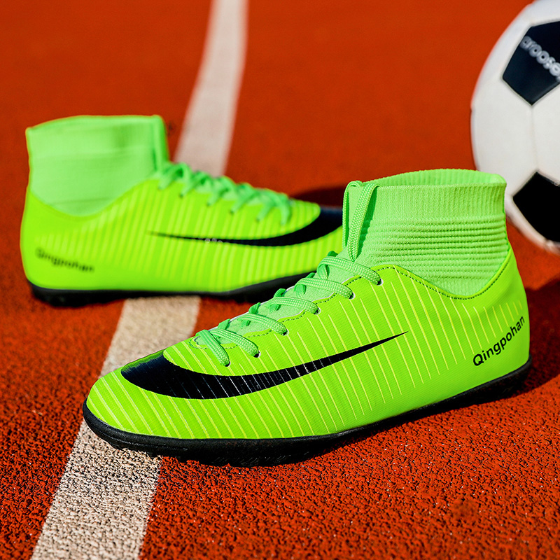 Football-Boots Soccer-Shoes Gold Sock Turf High-Ankle Man Men with Green