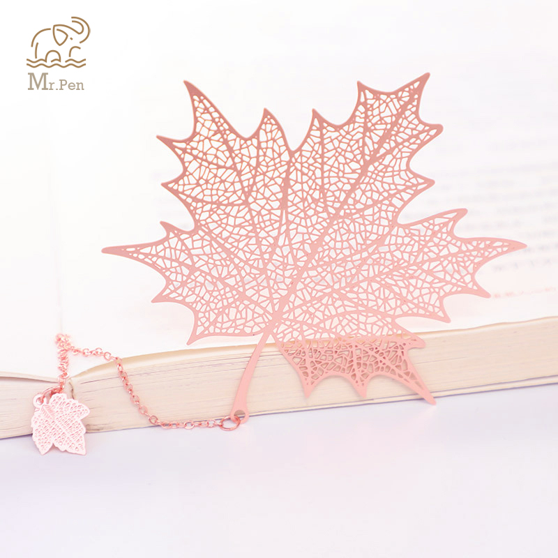 New Rose Gold Bookmark Metal Hollow Maple Leaf Tassel Apricot Leaf Decor Book Note Decoration Stationery School Office Gifts