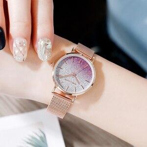 Image 5 - 送料無料 Japanischen Bewegung モード Farbe デザイン超薄型メッシュバンド防水腕章 Frauen Armbanduhr Luxus ダーメン腕時計