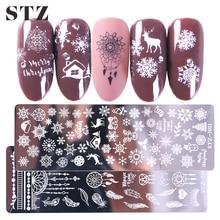 STZ noël conçoit des plaques destampage à ongles flocons de neige cerf cadeau Nail Art timbre modèles pochoirs vernis manucure outils STZ N/BE