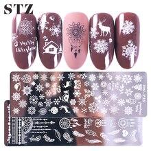 STZ świąteczne wzory płytki do tłoczenia paznokci płatki śniegu Deer prezent pieczątka na paznokcie szablony szablony polskie narzędzia do Manicure STZ N/BE