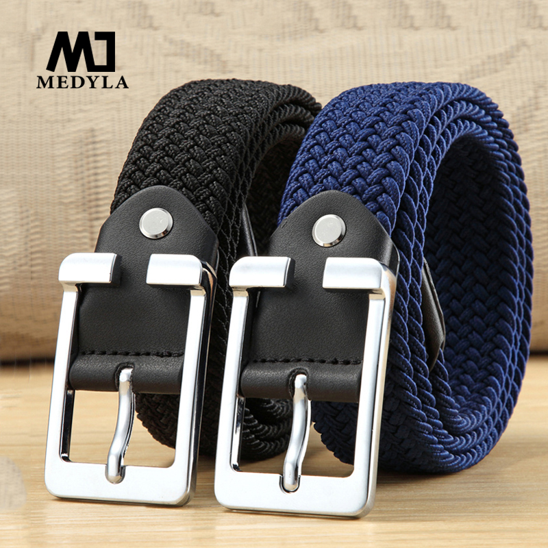 Men Elastic Belt High Quality Black Canvas Stretch Braided Elastic Woven Leather Belt Wide Hot Metal Stretch Belt For Men