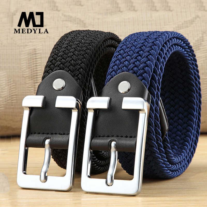 Elastic Belt for Men Maikun Mens Belt Black Belt Buckle Stretch Woven Belt