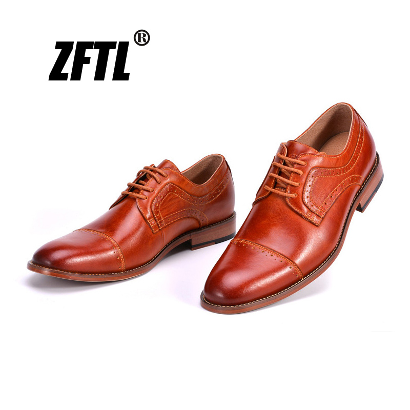 Handmade Men/'s Genuine Brown Calf Leather Crocodile Print Formal Lace-Up Shoes