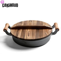 High Quality Kitchen Wooden Handle Cast Iron Multi purpose Flat Bottom Fryer Wok Uncoated Non stick Household Kitchen Cooker
