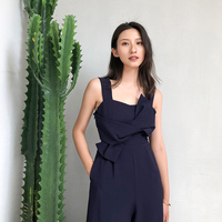 Sexy Bow Strap Jumpsuit Wide Legs Summer Sleeveless Backless Calf Length Pants Bodysuits Solid Fashion Higt Waist Rompers Womens