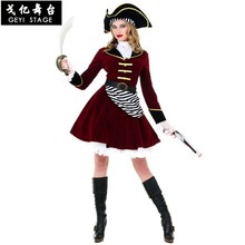 Nouveau Halloween Sexy femmes Pirate Costume carnaval fantaisie Performance femme Pirates capitaine Cosplay déguisement(China)