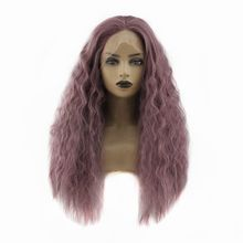 цена на Purple Long Wavy Synthetic Lace Front Wig Middle Part Glueless High Temperature Heat Resistant Fiber Hair Natural Wigs For Women