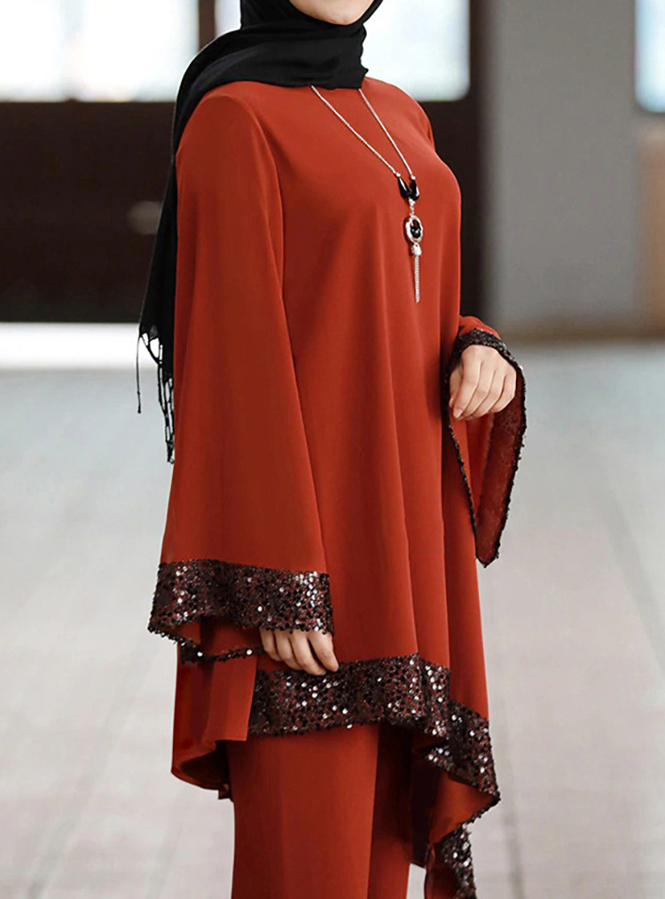 Eid Mubarak Kaftan Dubai Abaya Turkey Muslim Fashion Hijab Dress Sets Top + Pants Islam Clothing Abayas For Women Musulman