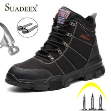 SUADEEX Men Safety Boots Steel Toe Work Shoes Construction Safety Footwear Waterproof Working Military Boots For Men Male 37-46(China)