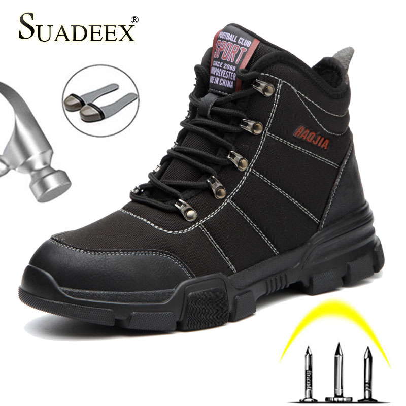 Promo SUADEEX Men Safety Shoes Steel Toe Work Shoes Construction Safety Footwear Waterproof Working Safety Boots For Men Male 37-46