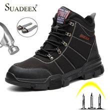 SUADEEX Men Safety Shoes Steel Toe Work Shoes Construction Safety Footwear Waterproof Working Safety
