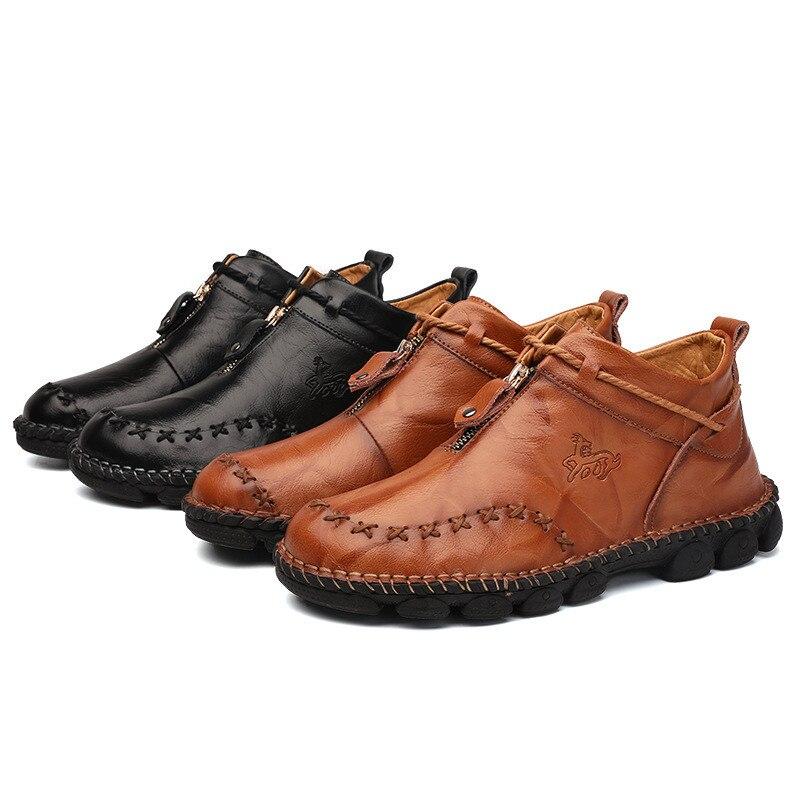 Alta qualidade de couro genuíno dos homens botas moda zíper sapatos masculinos couro de vaca homem marrom tornozelo botas 2019 outono mais tamanho 38-48 6