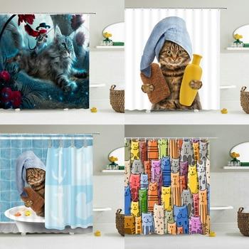 Cortinas de baño 3d con diseño de perro y gato, decoración para...