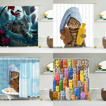 Funny Shower Curtains Bathroom Curtain With Hooks Decor Waterproof Cat Dog 3d Bath 180*180cm Creative Personality - discount item  43% OFF Household Merchandises