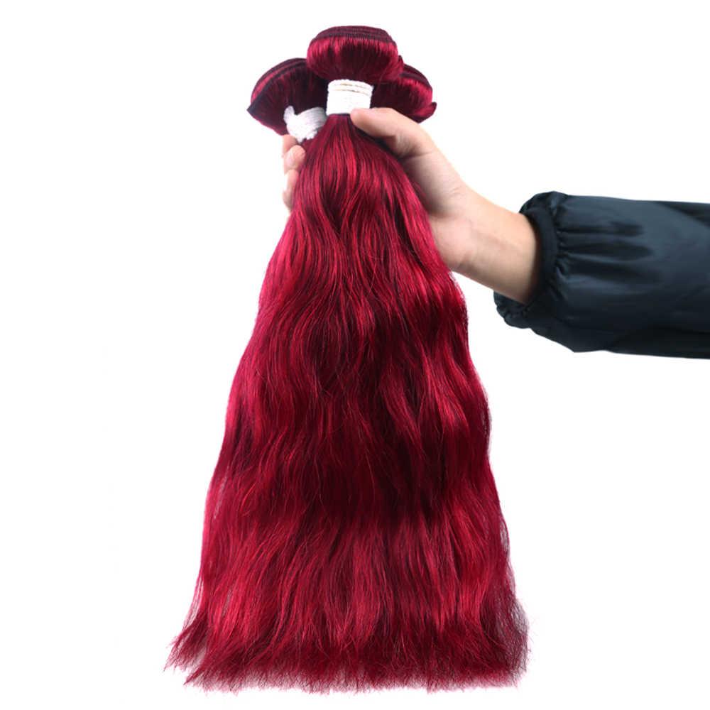 Borgonha/1 99J Red Auburn Onda Cor Natural Do Cabelo Humano Tecer/3/4 X-TRESS Feixes Brasileira Não -Remy Extensões de Trama Do Cabelo Humano
