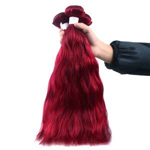 Image 5 - Burgundy/99J สีแดงสี Auburn Natural Wave มนุษย์ผมสาน 1/3/4 ชุด X TRESS บราซิล   Remy Human Weft Extensions