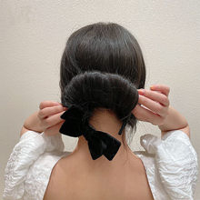 Koreańskie magiczne aksamitna kokarda przyrząd do koka z włosów ekspres do kobiety DIY do włosów urządzenie do stylizacji słodkie pączki prosta spinka do włosów elegancka ozdoba do włosów akcesoria czarny