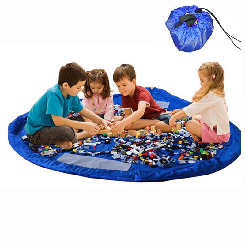 1.5m Children Baby Play Mat Large Toy Storage Bag Capacity Durable Storage Bag Outdoor Building Blocks Mat(dropshipping)