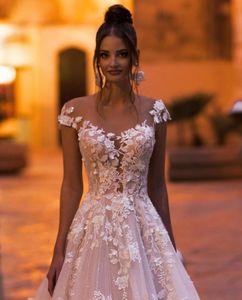Image 3 - vivians bridal 2019 ins hot floral print wedding dress elegant double v neck sweep train boho crystal yarn luxury bridal dress