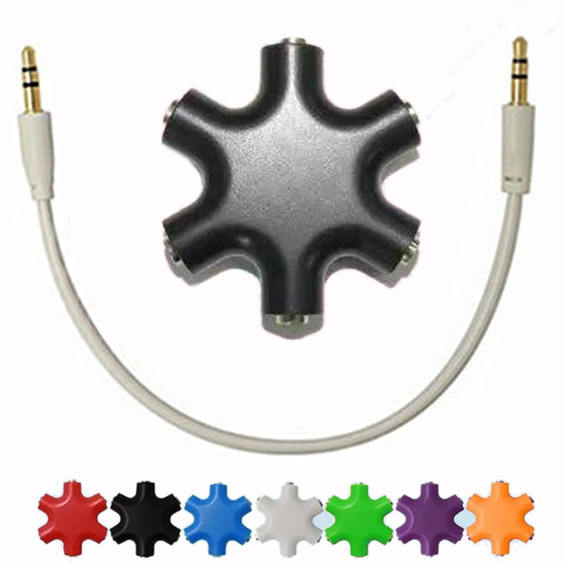 3.5mm Headphone Earphone Stereo Audio Splitter 1 Male To 2 3 4 5 Male Ports Cable Cord Jack Headset 6 Hub Way Audio Adapter Line