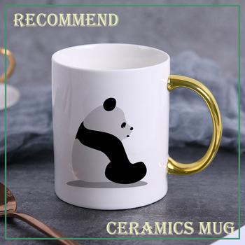 Panda w myśleniu ceramiczny kubek do kawy filiżanka do herbaty kubki do kawy kubek do mleka kubek ceramiczny do napojów prezent 400ml KTDW-029 tanie i dobre opinie XiJing CN (pochodzenie) Z fioletowej gliny Europejska Bez elementów Uchwyt Mugs Na stanie Ekologiczne