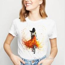 Camiseta Vintage para mujer, bicicleta amarilla, estampado, camiseta de moda, ropa de calle, Linda camiseta de acuarela, camiseta de verano, camiseta femenina