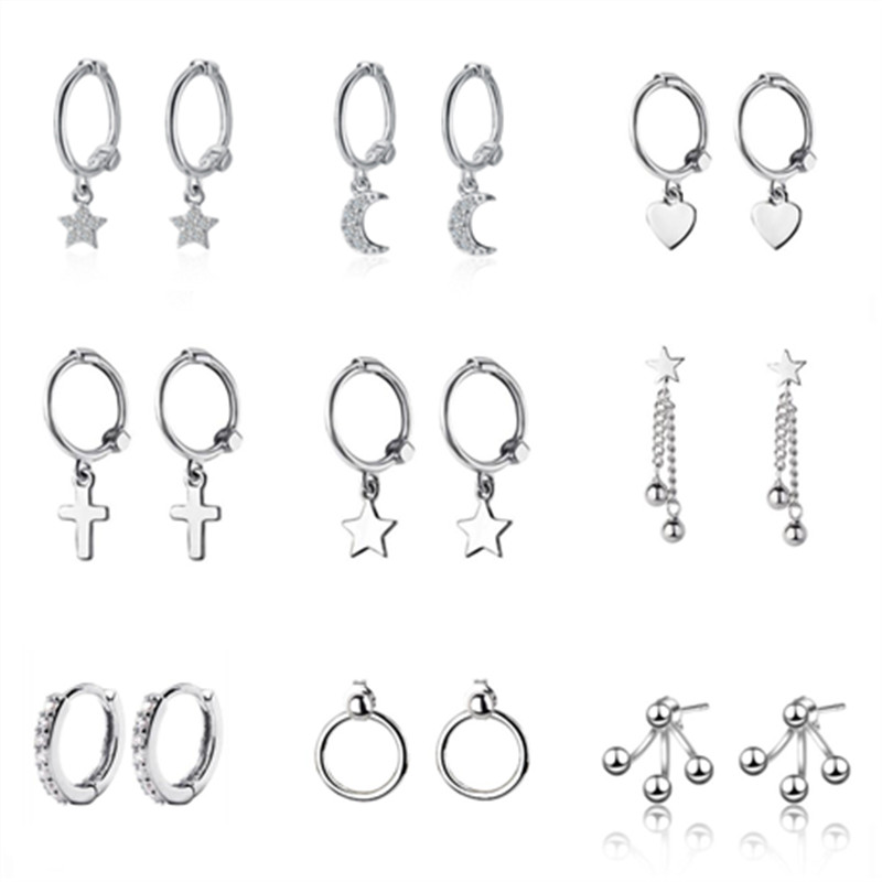 925 Sterling Silver Star Heart Cross Drop Earrings For Women Girls Hanging Dangle Earrings Pendientes Mujer Moda 2019