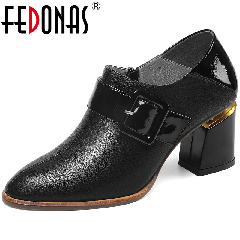 FEDONAS Elegant Spring Summer Thick Heels Women Pumps Side Zipper Genuine Leather Metal Decoration New Brand Shoes Woman
