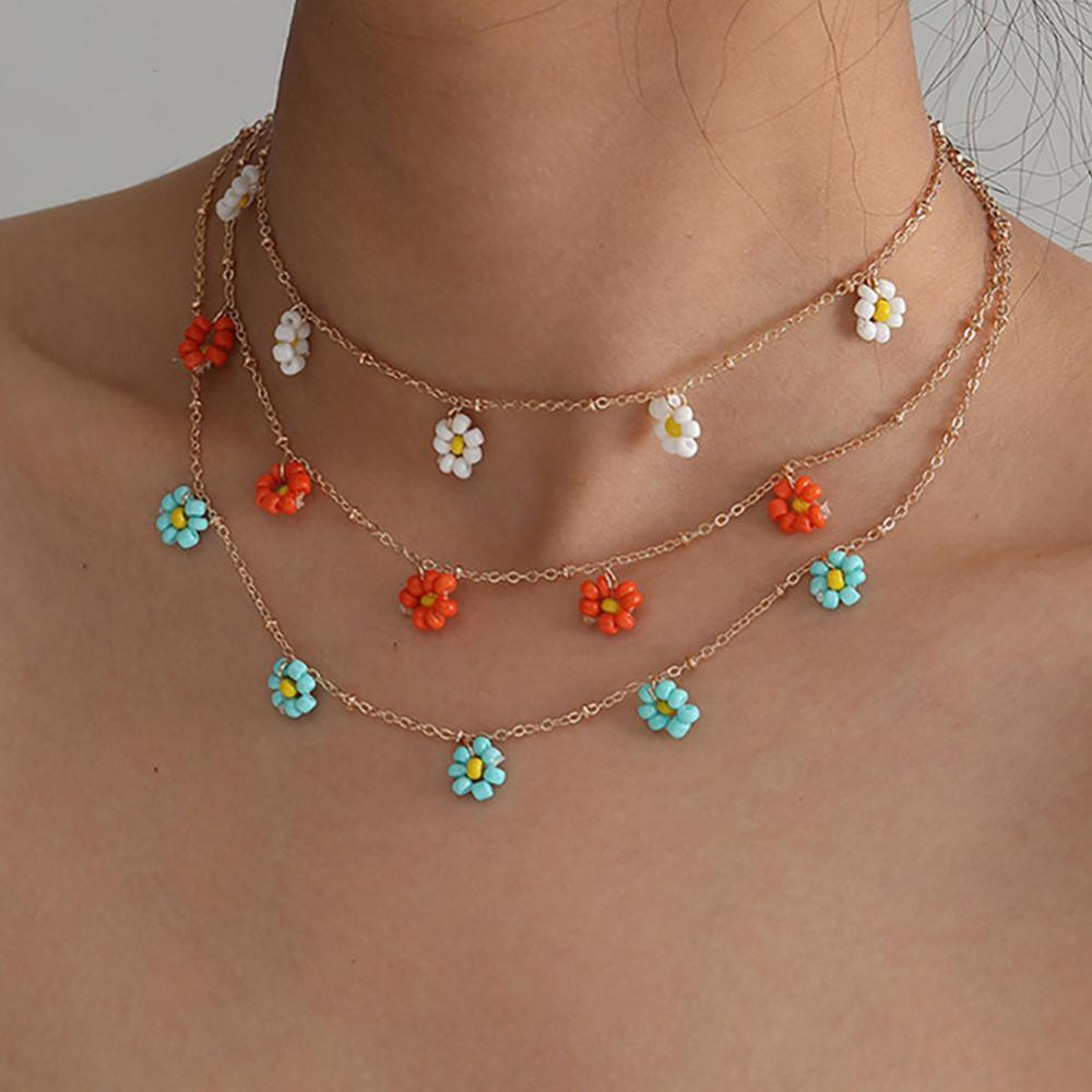 Salircon Korean Flower Choker Necklace for Women Boho Acrylic Clavicle Chain Short Necklaces Fashion Jewelry 2020 Trend