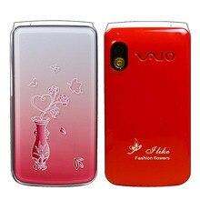 フリップ電話ノベルティ携帯電話 2.4 インチ女性女の子女性かわいいled懐中電灯gsm携帯携帯電話ロシア語