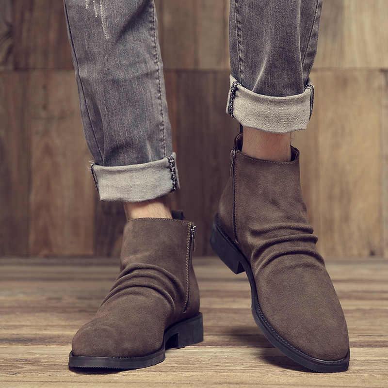 Nouveauté De luxe en cuir véritable cheville Chelsea bottes hommes chaussures Vintage classique mâle décontracté moto botte Zapatos De Hombre