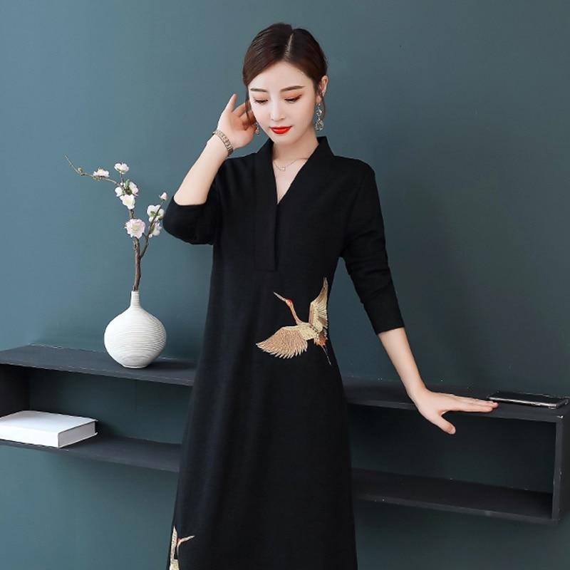 Qipao Traditional Chinese Oriental Dress Women Crane Embroidery Modern Chinese Cheongsam Qi Pao Female Ladies Asian Dress FF2538
