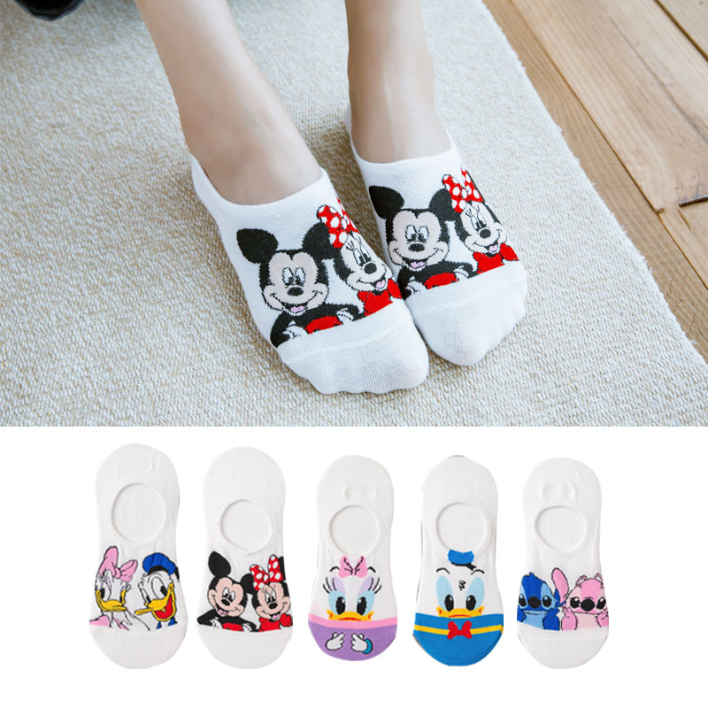 H1ca0698def344c18811a29f48864a598e - Disney 5 Pairs/Lot Casual Cute women Scoks Cartoon animal Mickey Mouse Donald Duck invisible ankle Socks Cotton happy Funny sock